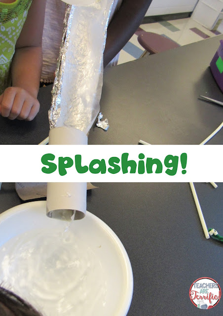 STEM Challenge: Build a water slide and then test it with water! Will it leak? Have some towels ready!