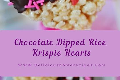 Chocolate Dipped Rice Krispie Hearts #valentine #chocolate
