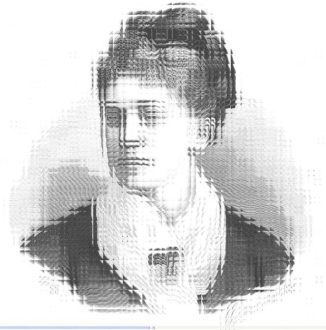 Imagen distorsionada de un grabado de Rosario de Acuña