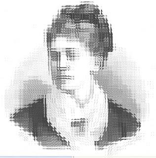 Imagen distorsionada de un grabado de Rosario de Acuña y Villanueva