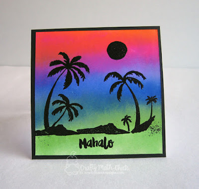 Brayered Tropical Sunset card by Crafty Math Chick | Paradise Palms stamp set by Newton's Nook Designs