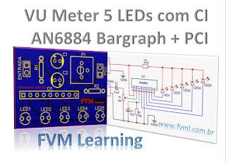 VU Meter 5 LEDs com CI AN6884 - Bargraph + PCI