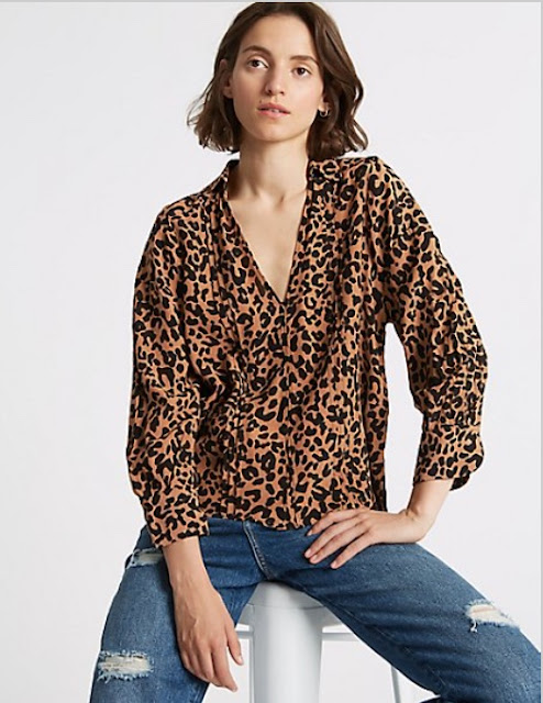 marks and spencer animal print notch neck ¾ sleeve blouse