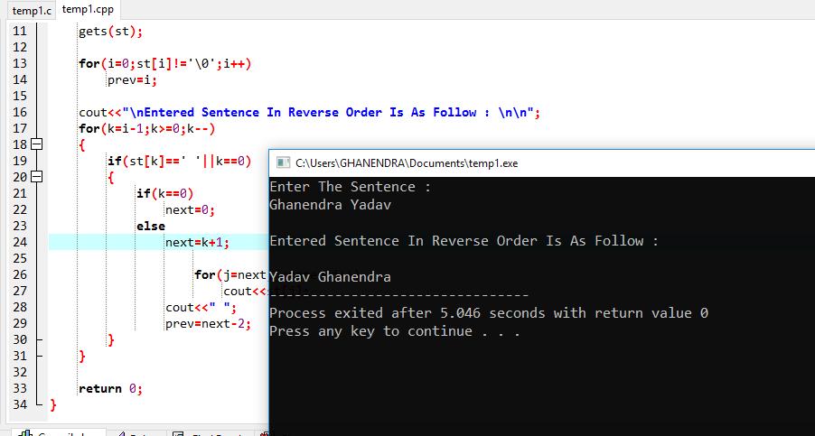 C++ Program To Print Reverse Sentence