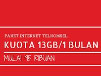 Paket Internet Telkomsel 13GB/30 Hari Hanya 95 ribu