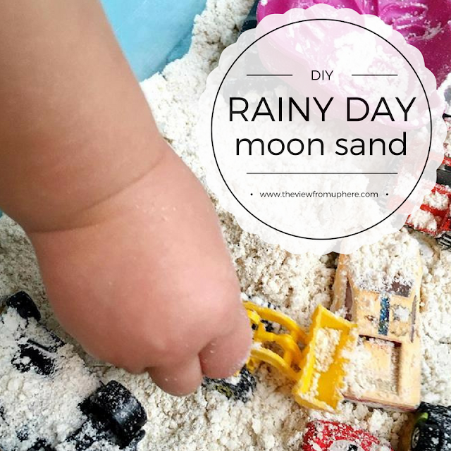 Rainy Day Moon Sand, Moon Sand, DIY with kids, sand table, hands on kids, sensory play, moon sand recipe, rainy day fun, homemade