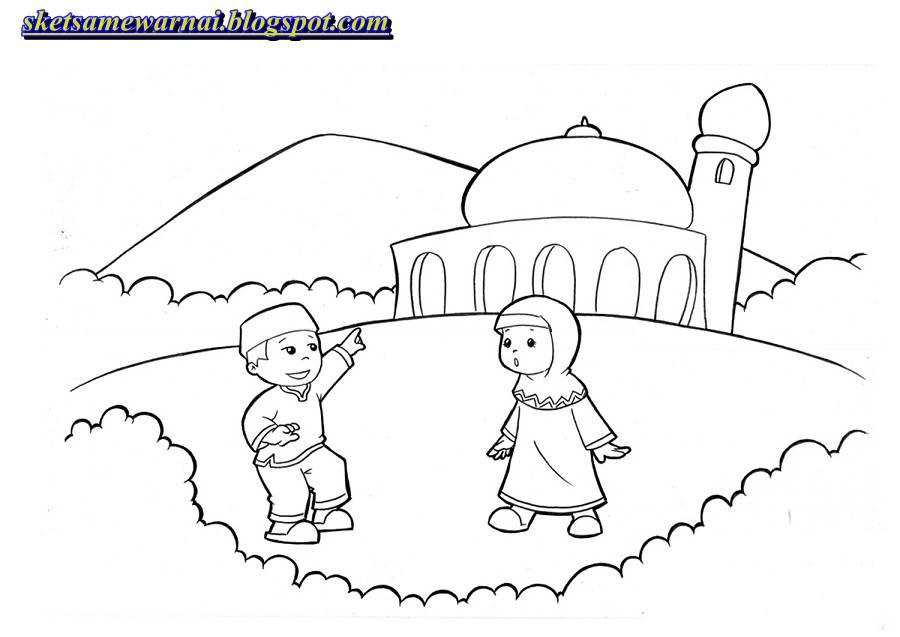Sketsa Mewarnai Gambar Anak Muslim Sketsa Mewarnai