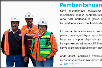 PT.Freeport Indonesia - Rekrutmen 2016