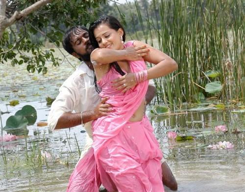 Celeb Saree  South Indian Actress Roopa Wet Pink Saree -6281