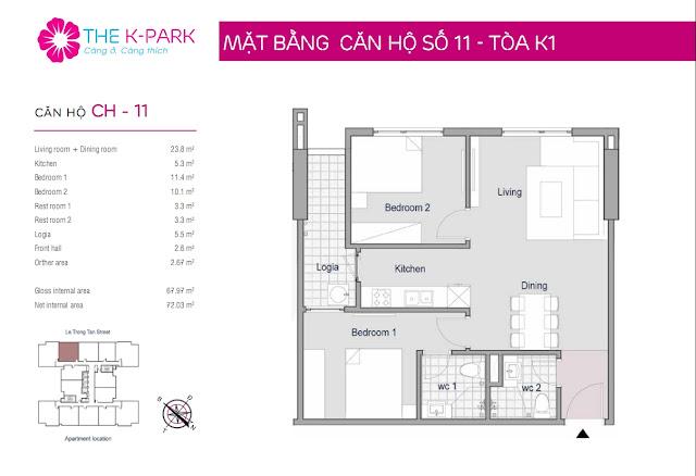 Thiết kế căn 11 chung cư THE K-PARK Văn Phú