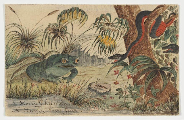 """Christmas Card design depicting a frog by the water and a red belly black snake in a tree with the words """"A Merry Christmas A Happy New Year""""."""