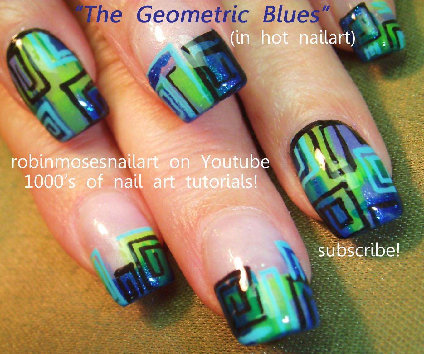 Nail Art By Robin Moses Purple Nails Blue And Green Nails