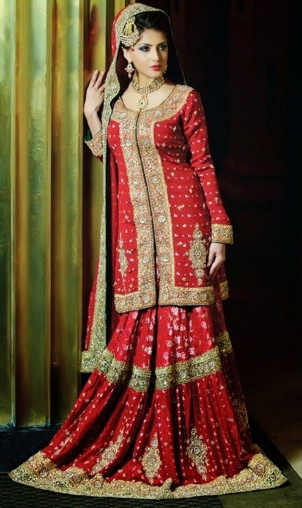 pakindian full sleeve wedding dresses 2014 for married