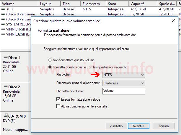 Windows 10 Gestione disco strumento Crezione guidata nuovo volume semplice