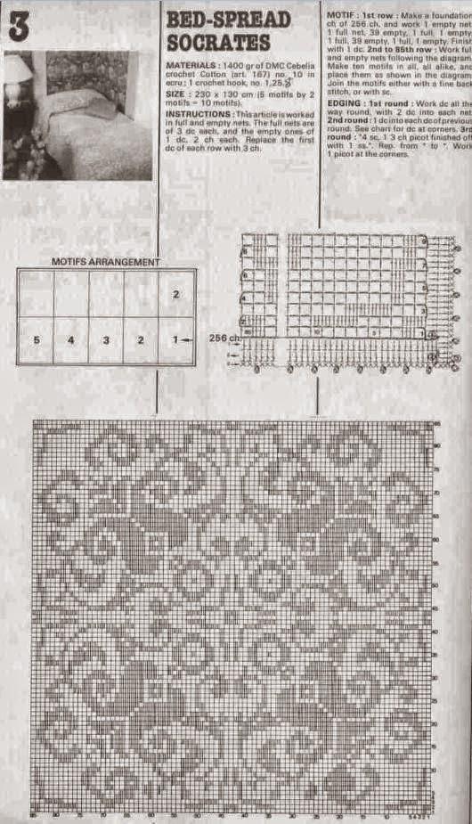 Patrones de Colcha tejida Crochet Filet | Crochet y Dos agujas ...