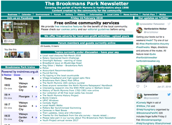 Screen grab image of The Brookmans Park Newsletter front page in February 2018