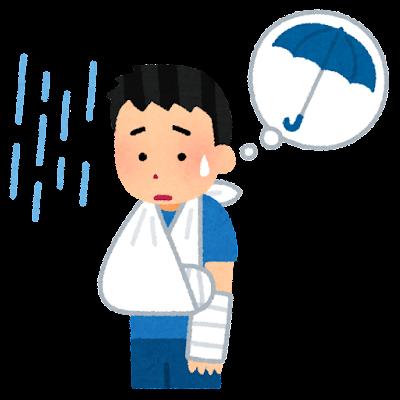 骨折して傘が持てない人のイラスト(男性)
