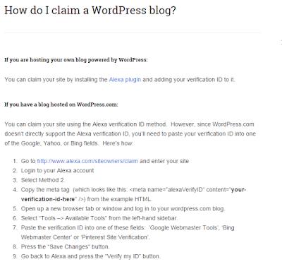 cara verifikasi alexa di blog wordpress