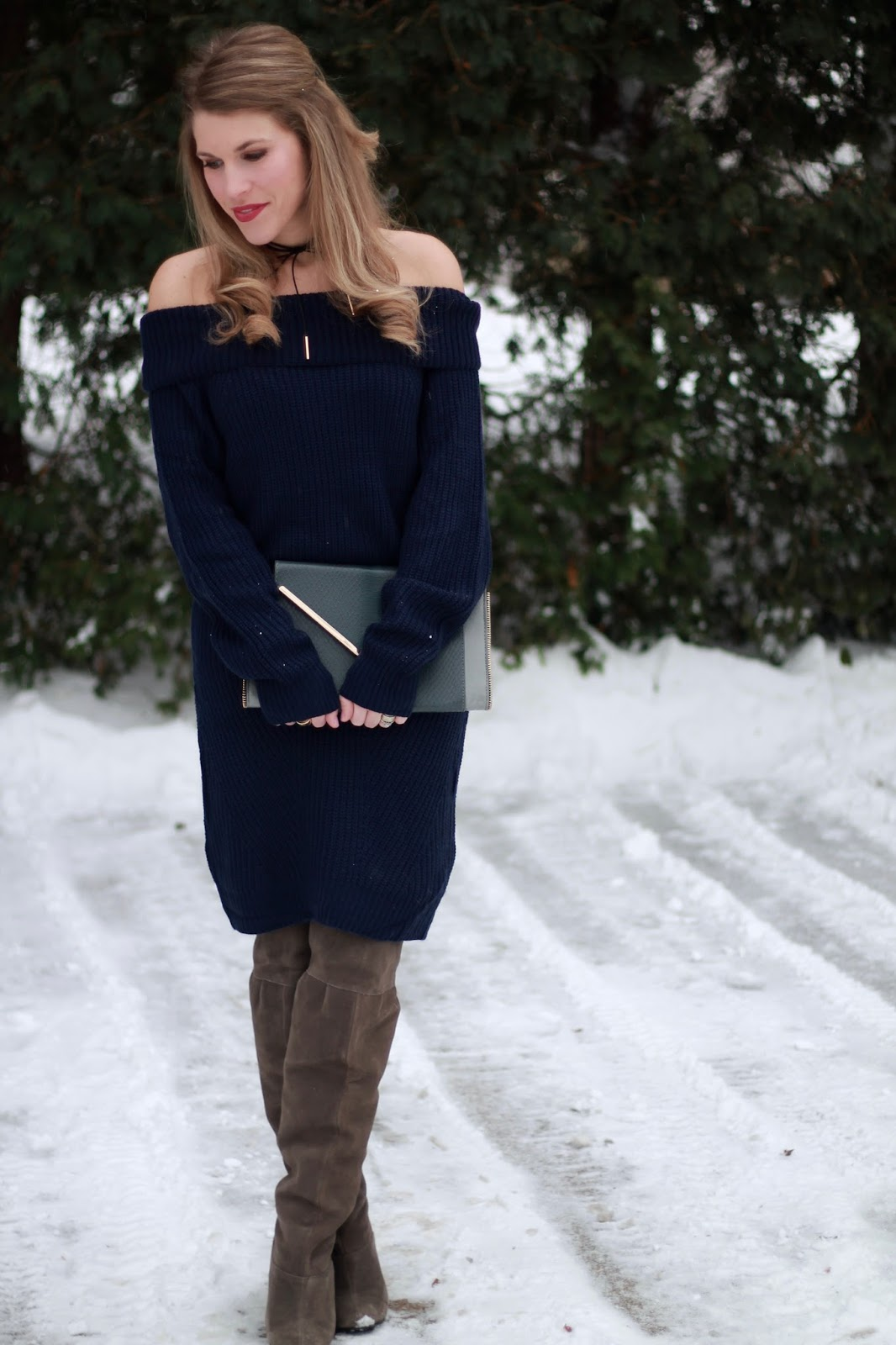 I do deClaire: Navy Off the Shoulder Sweater Dress & Confident ...