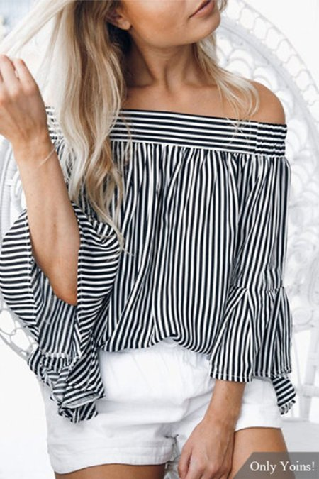 Off-the-shoulder Stripes Long Sleeves Top -Price:US$21.95 (42%OFF))
