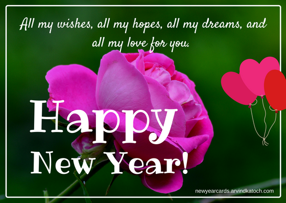 all my wishes all my hopes all my dreams pink rose new year card