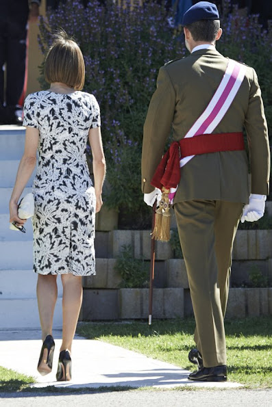 King Felipe of Spain and Queen Letizia of Spain attended the new Royal Guards Flag Ceremony at the 'El Rey' Military Barrack