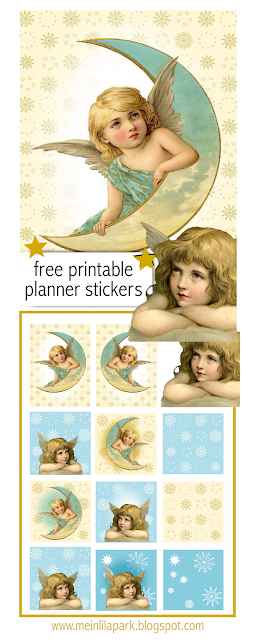free printable Christmas planner stickers : vintage angels - Weihnachtssticker - freebie