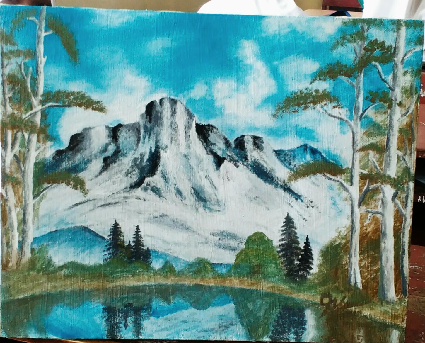 Sketsa Gambar Pemandangan Di Kanvas