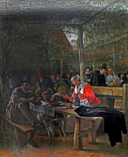 Painting of a Tavern Garden by Jan Steen