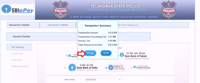 traffic e challan payment select option