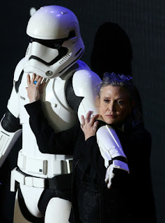 "US actress Carrie Fisher attending the opening of the European Premiere of ""Star Wars: The Force Awakens"" in central London December 156, 2016"