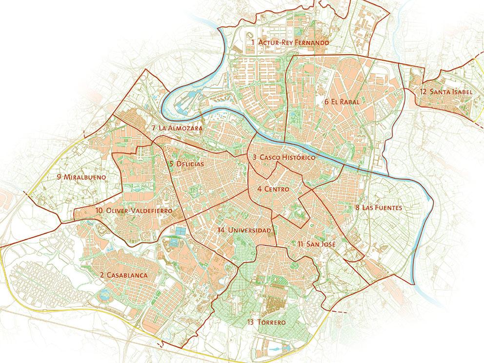 Es zaragoza an lisis de los distritos municipales de for Codigos postales madrid capital