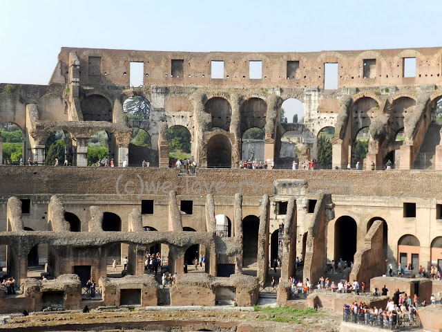 We are able to see the inside of the ruins of the Colosseum in Rome