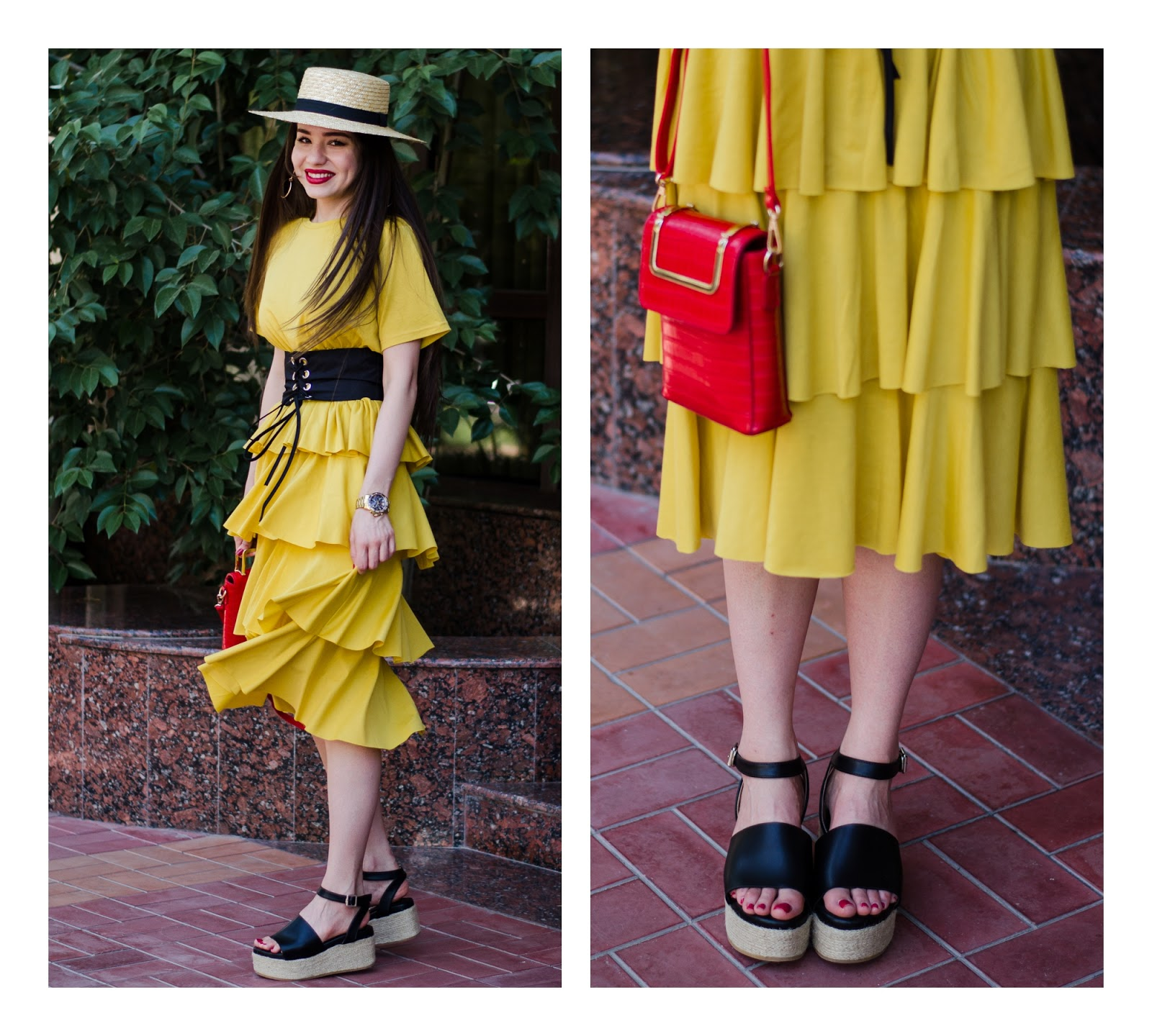 fashion blogger diyorasnotes diyora beta yellow dress summer dress ruffle dress midi corset straw hat asos summer look outfitoftheday