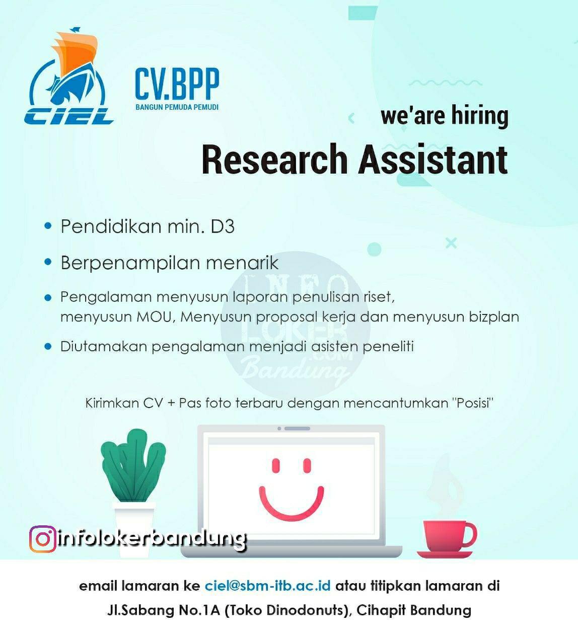 Lowongan Kerja Research Assistant CV. BPP Bandung Desember 2018