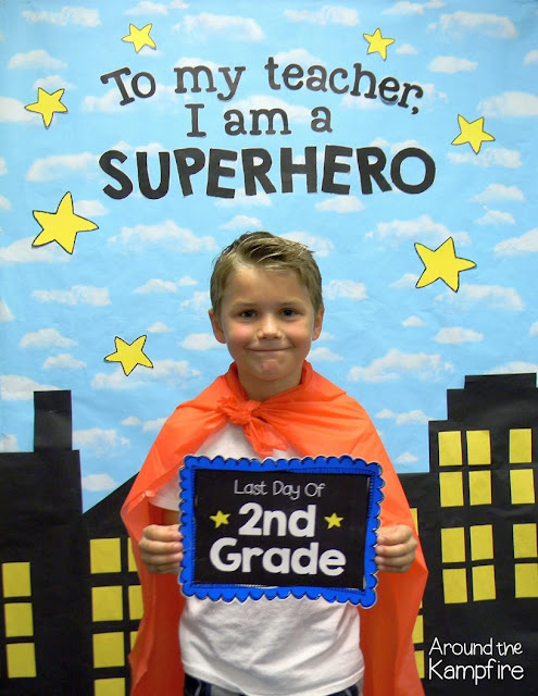 Capture memories with a first or last day superhero photo booth like we did during our Superhero award ceremony!