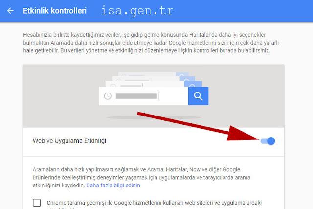 Google etkinliklerini kapatma