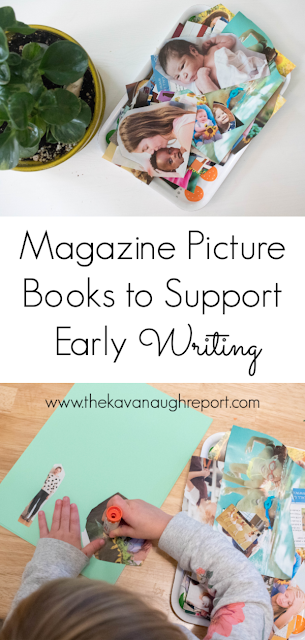Magazine picture books to support fine motor skills and an early interest in writing - and easy DIY for your Montessori shelves.