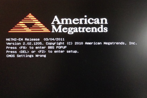 American Megatrends: CMOS settings wrong solution - fixed