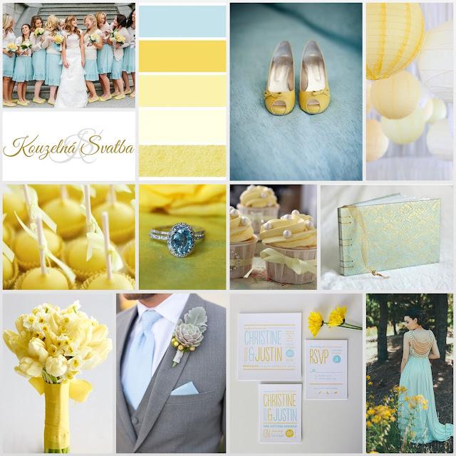 Buttercup - máslově žlutá s doplňky modré a zlaté barvy