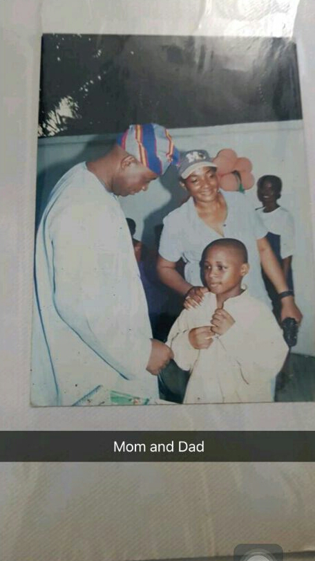 Davido shares childhood photo with his mum and dad