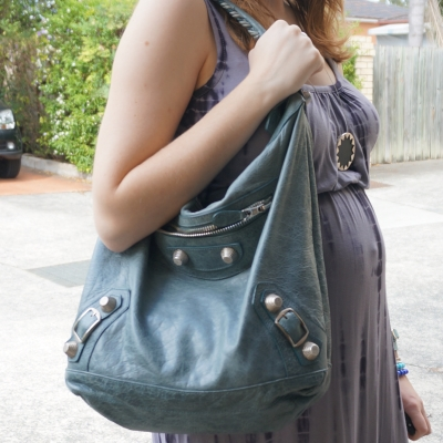 Away From Blue | Balenciaga tempete storm day hobo bag grey maxi dress baby bump
