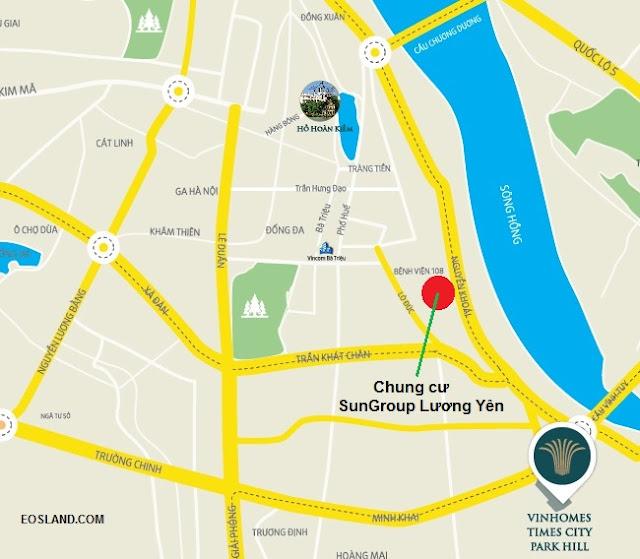 Vị trí Chung cư bến xe Lương Yên (Sun Group Lương Yên)