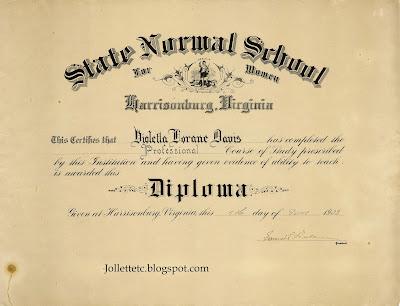 Violetta Davis Ryan's first diploma https://jollettetc.blogspot.com