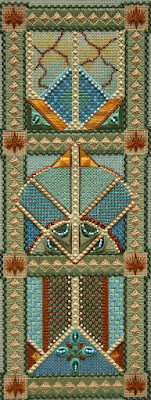 embroidered canvas with various stitches, beads and crystals providing texture, muted green and blue with accents of rust yellow and white