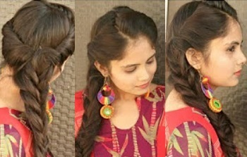 Indian Festival Hairstyle | Rolled up Fishtail Braid Hairstyle For Long Hair