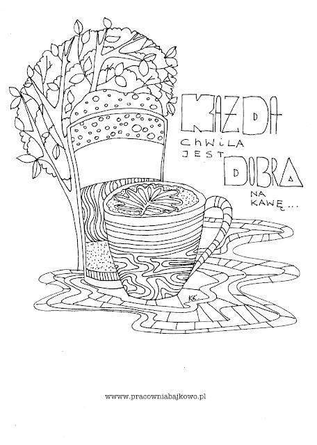 Kolorowanka antystresowa 7 - przy kawie