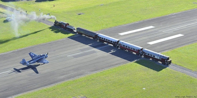 Gisborne Airport Runway With A Railway Crossing
