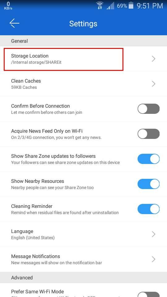 change shareit storage location