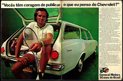 propaganda Chevrolet com o tenista Thomas Koch - 1975.  brazilian advertising cars in the 70. os anos 70. história da década de 70; Brazil in the 70s; propaganda carros anos 70; Oswaldo Hernandez;